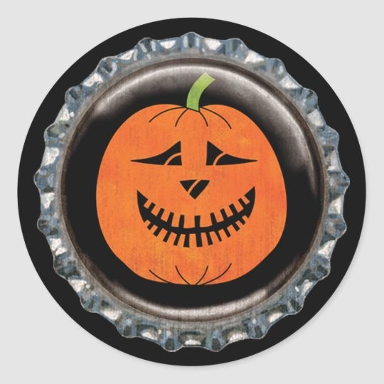 Halloween Jack-o'-lantern Pumpkin Bottle Cap Classic Round Sticker