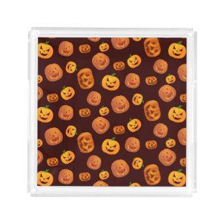 Halloween Jack-O-Lantern Pumpkin Pattern Acrylic Tray