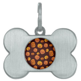 Halloween Jack-O-Lantern Pumpkin Pattern Pet Name Tag