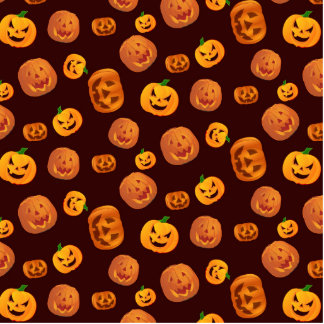 Halloween Jack-O-Lantern Pumpkin Pattern Photo Sculpture Badge