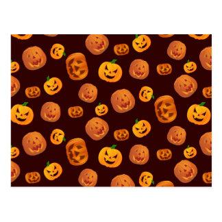 Halloween Jack-O-Lantern Pumpkin Pattern Postcard