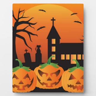 Halloween Jack O Lantern Pumpkins Illustration Plaque