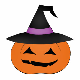 Halloween jack o lantern with witch hat photo sculpture magnet