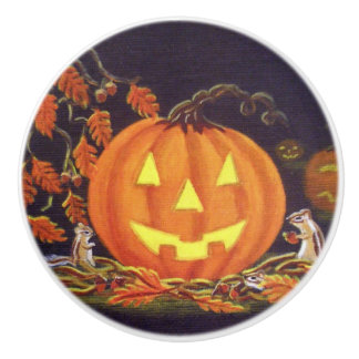 Halloween Jack-O-Lanterns,chipmunks Ceramic Knob