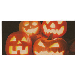 Halloween Jack O Lanterns Wood USB 2.0 Flash Drive