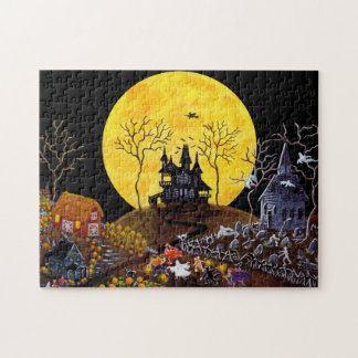 Halloween jigsaw puzzle, haunted town jigsaw puzzle