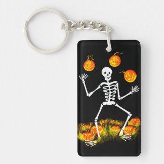 Halloween key ring,skeleton,Jack-O-Lanterns Double-Sided Rectangular Acrylic Key Ring