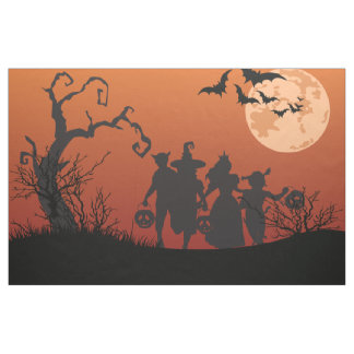 Halloween kids, dead trees, moon, bats fabric