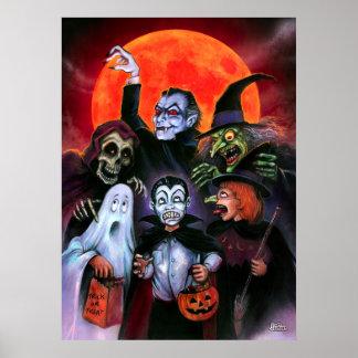 Halloween Kids meet Monsters Poster