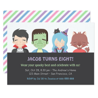 Halloween Kids Monster Birthday Party Invitations