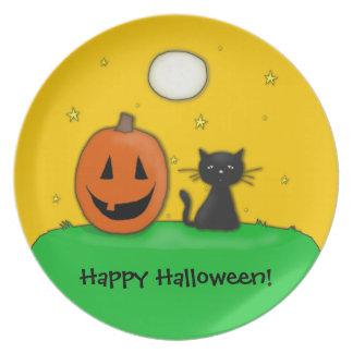 Halloween Kitty Dinner Plates