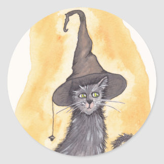 Halloween Kitty Witch Classic Round Sticker