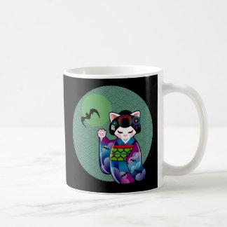 Halloween Kokeshi Maneki Neko Japanese Lucky Cat Coffee Mug