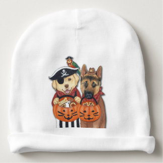Halloween Lab, Shepherd, and Parrot in Costumes Baby Beanie