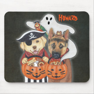 Halloween Lab, Shepherd, and Parrot in Costumes Mouse Pad