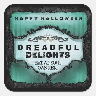 Halloween Label - Green Black Large Square Sticker