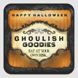 Halloween Label - Orange Black Large Square Sticker