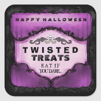 Halloween Label - Purple Black Large Square Square Stickers