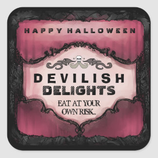 Halloween Label - Red Black Large Square Stickers