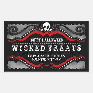 Halloween Label Treats Drinks Black White Red Rectangular Stickers