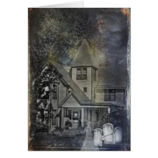 Halloween-lady ghost by haunted house card