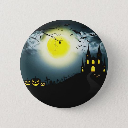 Halloween landscape 6 cm round badge