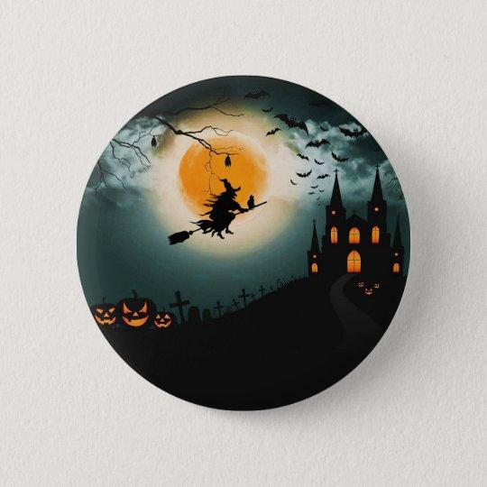 Halloween landscape 6 cm round badge