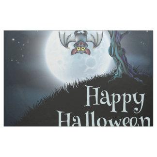 Halloween landscape bat hang on dead tree, moon fabric
