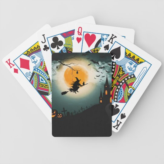 Halloween landscape bicycle playing cards