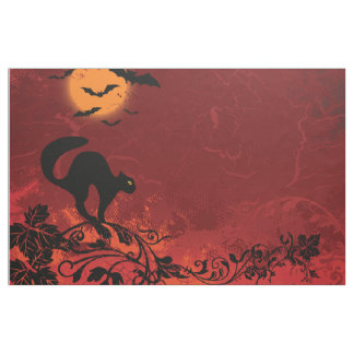 Halloween landscape: cat on vines, moon, bats fabric