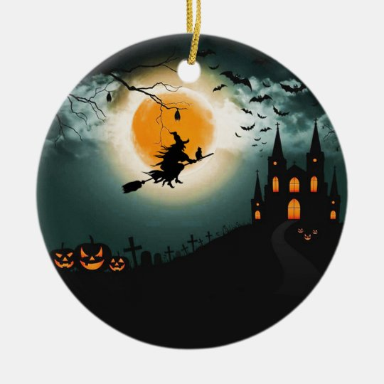 Halloween landscape ceramic ornament