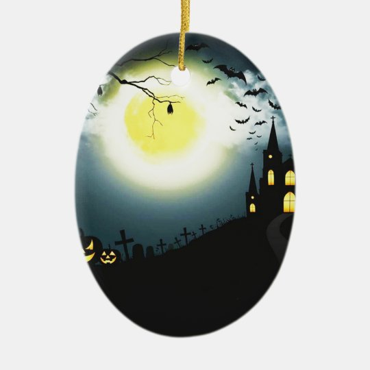 Halloween landscape ceramic ornament