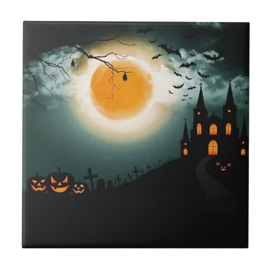 Halloween landscape ceramic tile