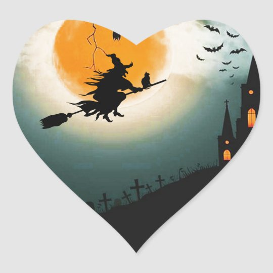 Halloween landscape heart sticker