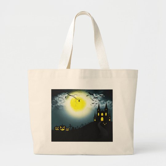 Halloween landscape large tote bag