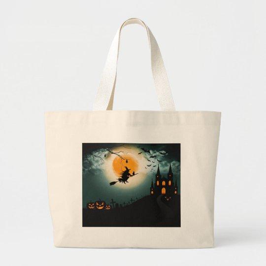 Halloween landscape large tote bag