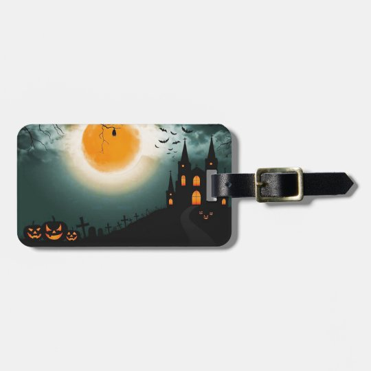Halloween landscape luggage tag
