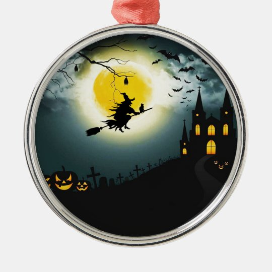 Halloween landscape metal ornament