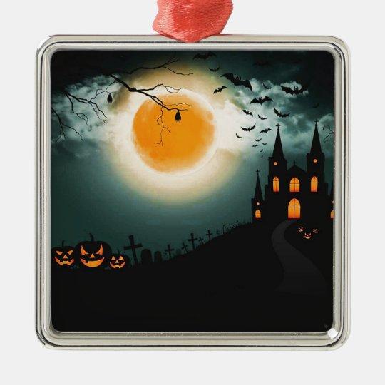 Halloween landscape metal ornament