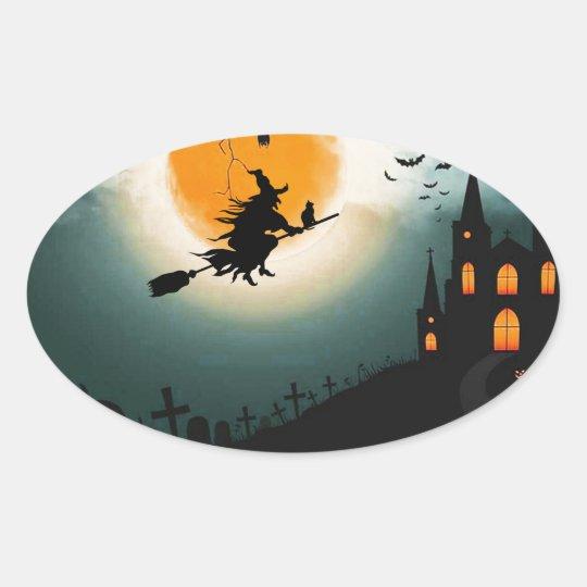 Halloween landscape oval sticker