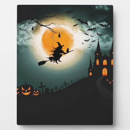 Halloween landscape plaque