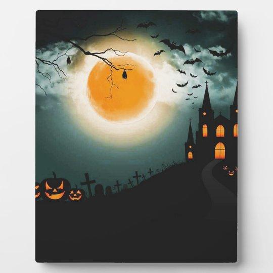 Halloween landscape plaque