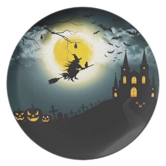 Halloween landscape plate