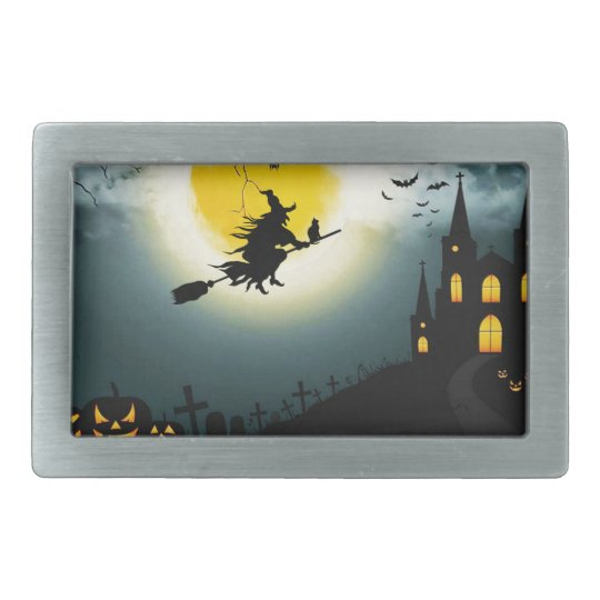 Halloween landscape rectangular belt buckle
