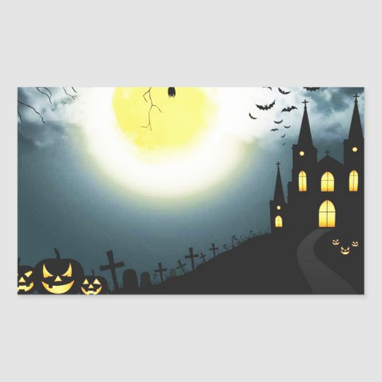 Halloween landscape rectangular sticker