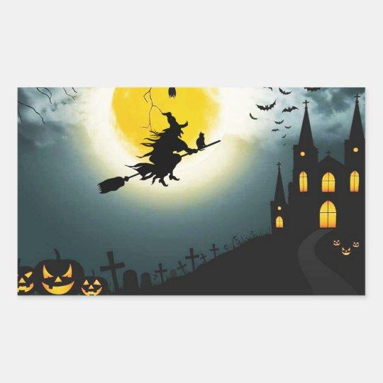 Halloween landscape rectangular sticker