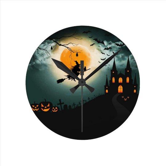 Halloween landscape round clock