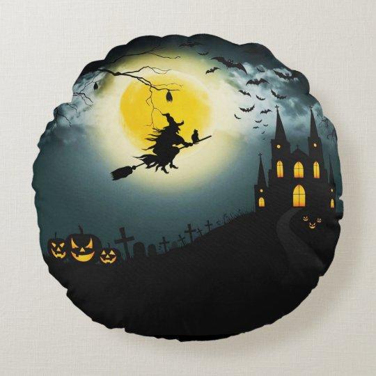 Halloween landscape round cushion