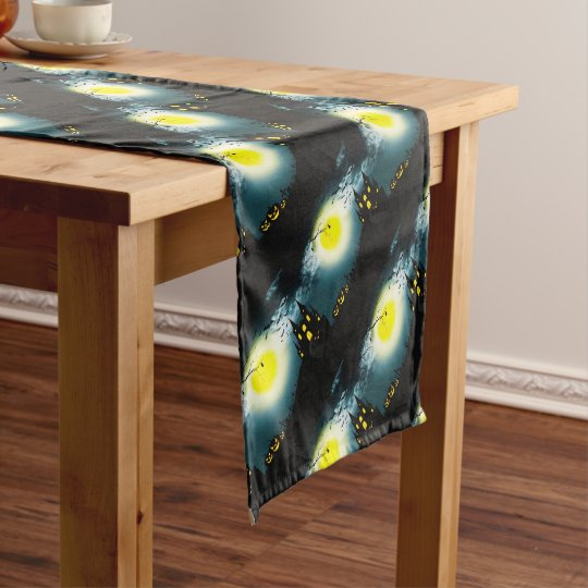 Halloween landscape short table runner