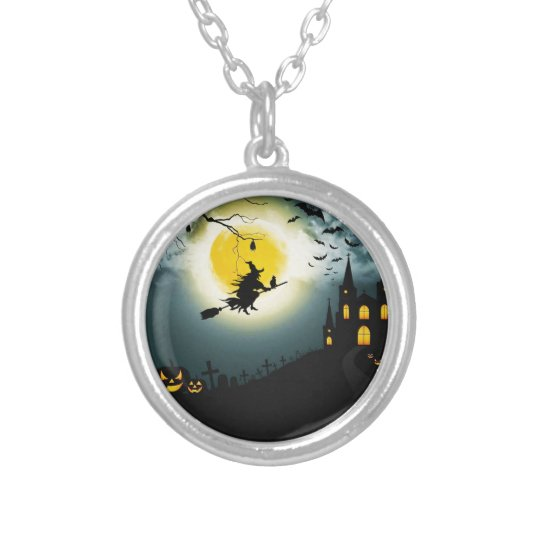 Halloween landscape silver plated necklace